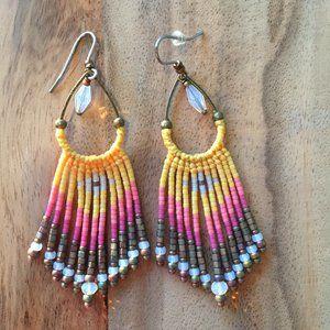 Saffron seed bead earrings
